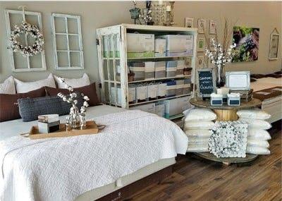 luxury mattress and accessory rack inside organic mattress gallery in Dallas Texas