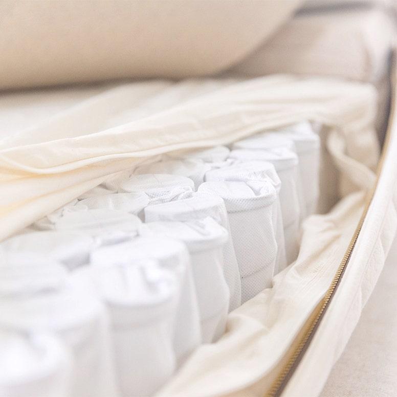 Unzipped organic cotton encasement showing encased coils