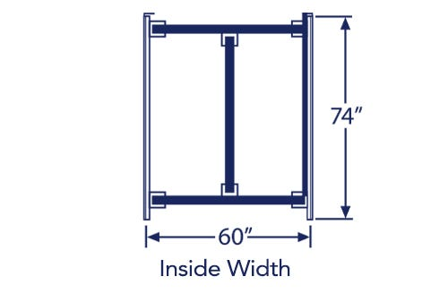 """Illustration of queen bed frame with listed dimensions of 60"""" x 74"""""""