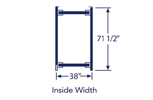"""Illustration of twin/twinxl bed frame with listed dimensions of 38"""" x 71.5"""""""