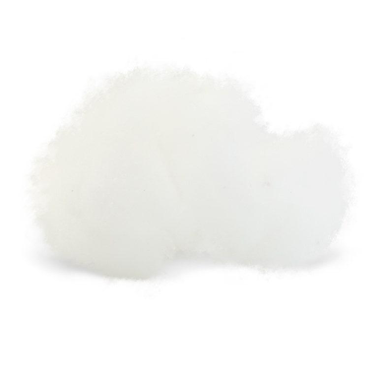 Fluffy chunk of PLA fiber on white background