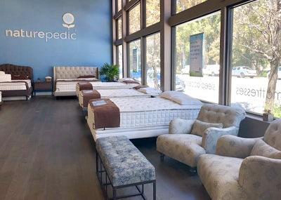 mattresses inside organic mattress gallery in Burlingame California