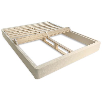 """Step 3 - Angled shot of 7"""" standard foundation with slats rolled out halfway"""
