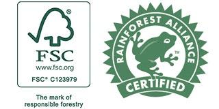 FSC Certified Logo C123979 and Rainforest Alliance Certified Logo