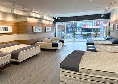 mattresses inside organic mattress gallery in Toronto Canada