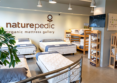 mattresses inside organic mattress gallery in Vancouver Canada